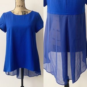Umgee Blue Short Sleeve Hi-Lo Top w/Sheer Tail